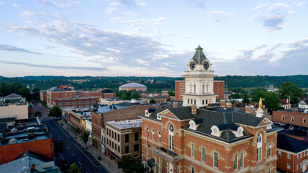 photo of Athens, Ohio skyline with Court House and Convo in view